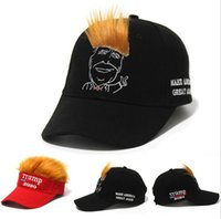 Wholesale funny snapback for sale - Group buy Trump Hair Hat Trump Letter Embroidery Funny Snapback Adjustable Wig Hip Hop Unisex Visor Cap OOA7577