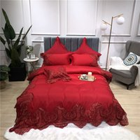 Wholesale lace bedding sets king size for sale - Group buy Red color Europe Luxury Royal Bedding sets Queen King size embroidery Duvet cover lace Bed cover sheets set pillowcase