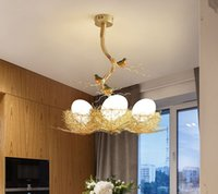 Wholesale semi mount pendant white gold for sale - Group buy Post Modern Handwork Gold Aluminium Steel Bird Nest Pendant Light Lamp Nordic Silver Alu Wire White Glass Egg Suspension Light MYY