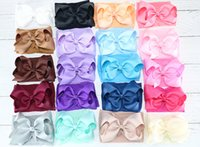 Wholesale crochet cute animals resale online - 5inch Baby Girls Headband Wide Nylon High Elasticity Hair Bows Band Soft Bowknot Hairband Infant Girl Headwrap Cute Hair Accessories Color
