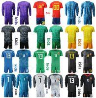 spanien jugendfußball jersey großhandel-Jugend David De Gea Trikotset Kids Spanien Goalie Langarm Fußball 1 Iker Casillas 23 Pepe Reina 13 Arrizabalaga Fußball-Hemd-Kits