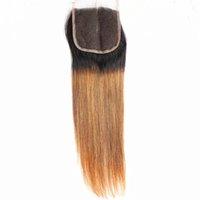 işlenmemiş bütünsel saç toptan satış-9A Düz Iki Ton Ombre 4x4 Saç Kapatma% 100% İşlenmemiş İnsan Saç Brezilyalı Hint Malezya Saç 8-20 inç
