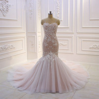 Wholesale wedding dress real pictures back mermaid for sale - Group buy 100 Real Pictures Eleagnt Lace Mermaid Wedding Dresses Luxury Open Back Blush Pink Beach Boho Bridal Gown Plus Size