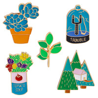 Wholesale silver brooch stones resale online - Brooches Pins Flowers Potted Plants House Tree Forest Brooch Denim clothes Pin Buckle Badge Gift for Girls Boys