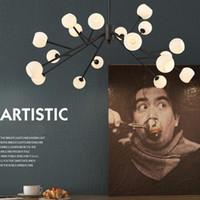 arañas araña al por mayor-Modern Nordic Spider Ball LED Arañas Iluminación Árbol Simple personalidad Araña Restaurante Lámpara colgante para sala de estar