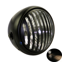 Wholesale chopper headlights for sale - Group buy Custom Vintage H4 Halogen Bulb Motorcycle Cruiser Headlight with Black Grill for Bobber Chopper Cafe Racer