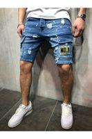 nouveau short en jean pour hommes achat en gros de-New Summer Mens Trous Denim Shorts Mode Hommes Denim Jeans Pantalon droit Slim Tendance Mens Designer Pants