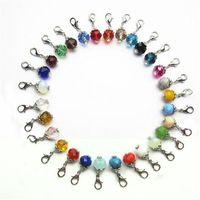 takılar kolye diy mix toptan satış-Mix 30 Renk Birthstone Kristal Dangle Charms Istakoz Kapat Charms Bilezik Kolye Kolye DIY Takı Aksesuarları