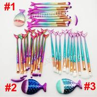 Rainbow Makeup Brushes kit Mermaid brush 11pcs Set Face and Eyeshadow Powder Foundation brushes Eyebrow Eyeliner brush Makeup Tools free DHL