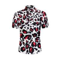 camisas de vestido dos homens da cópia do leopardo venda por atacado-Eur tamanho streetwear camisa dos homens 2019 leopardo 3d impresso havaiano camisa de verão masculino social dress shirt marca casual clothing