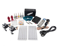 Wholesale tattoo beginner for sale - Group buy Hot Sale Complete Tattoo Machine Kit Set Coils Guns Colors Black Pigment Sets Power Tattoo Beginner Grips Kits Permanent Makeup