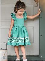 Wholesale kids summer clothing girl 11 for sale - INS Girl Kids Clothing Summer Girl Pink Ruffles Green Design Flying Sleeveless Dress high quality cotton Girl Princess dress