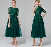 tulle grünes tee länge kleid großhandel-Elegante A-Linie Illusion Neck Tee Länge Spitze Tüll Cocktail Party Abendkleid mit Perlen Applikationen Halben Ärmel Dunkelgrün Besondere Anlässe