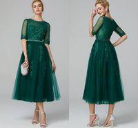 gri tül elbise çay uzunluğu toptan satış-Zarif A-Line Illusion Boyun Çay Boyu Dantel Tül Kokteyl Parti Balo Elbise ile Boncuk Aplikler Yarım Kollu Koyu Yeşil Özel Durum