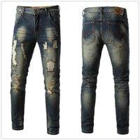 diseños de jeans bolsillo al por mayor-Pantalones vaqueros de diseñador para hombre 2019 nuevo parche desgarrado desgarrado azul diseño de camuflaje lápiz de mezclilla pantalones bolsillo montar motocicleta calle jeans
