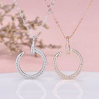 Wholesale celebrity brand jewelry for sale - Group buy Brand Classic Designer Jewelry Hook Nail Crystal Pendant Necklace European Hot Sale Internet celebrity Fashion Gold Silver Necklace