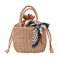 Wholesale small beach buckets for sale - Group buy Beach Straw Bags for Women New Summer Handmade Purse Women Handbag Weaving Tote Ladies Small Wrapped Rattan Bag