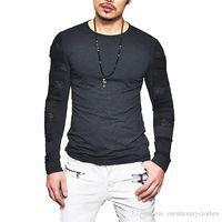 camisas de malla masculina al por mayor-New Street Hombre Hombre Camiseta Manga Larga Color Sólido Otoño Primavera Camiseta Diseñador de Malla Tops Camiseta