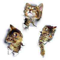 sevimli diy banyo dekor toptan satış-3d sevimli kedi pvc su geçirmez kendinden yapışkanlı duvar çıkartmaları diy çıkarılabilir çıkartmaları oturma odası yatak odası banyo dekor yağa dayanıklı kokusuz