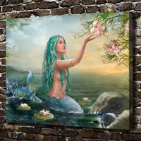 Wholesale art lotus oil painting for sale - Group buy Lotus The Little Mermaid Pieces Home Decor HD Printed Modern Art Painting on Canvas Unframed Framed