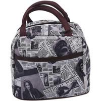 weiße lunchboxen großhandel-schwarz weiß braun Stil Polyester Lunch Bag Lunch Box Paket Shop-Einkaufstasche Geldbeutel für Frauen Mädchen