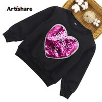 Wholesale t shirt girls 13 for sale - Group buy Girls Sweatshirts Heart Sequins Kids Girls Hoodies Outerwear Teenage Long Sleeves Sweater Girls T shirt Clothes