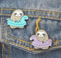 düğme rozeti pimleri toptan satış-Tembellik Klasik Karikatür simgeleri Tarzı Emaye pin Rozeti Düğmeler Broş Anime Severler Gömlek Denim Ceket yaka pin