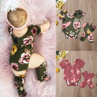 Wholesale girl clothes for sale - Cute Baby Girls Floral Summer Cotton Outfits Short Sleeve Flower Bodysuit Pullover Jumpsuit Stockings Toddler Clothes M