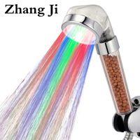 regenschauer farben groihandel-ZhangJi Erstaunliche 7 Farben LED Duschkopf Bad Farbwechsel Filter Duschkopf SPA Regen Wassersparende Handbrausen