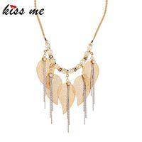 ingrosso l'ottone lascia la collana-kissme Unico cristallo di ottone foglie catene iperbole nappa collana pendente per le donne regali collana in lega di colore oro accessorio