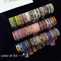 bracelets de tungstène noir pour hommes achat en gros de-bracelet en gros style classique tissé lettres de broderie chaîne de main pour les hommes et les femmes tissées bracelet double corde 43 couleur