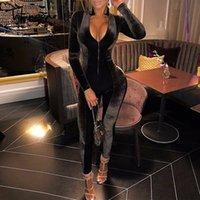 ingrosso corpo completo per le donne-Tobinoone 2018 Autunno Inverno Pagliaccetti lunghi Sottile Tuta intera Donna Sexy Dolcevita Pleuche Body aderente Tute in velluto MX190726