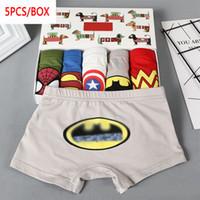 ingrosso super heros-DHL 5pcs / box ragazzi bambino pugili della biancheria intima delle ragazze bambini Super eroi dei cartoni animati per bambini mutande Mutandine Panty Slip Infant adolescenti 2-10Y