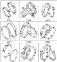 mélanger des ensembles d'argent joaillier achat en gros de-Mélanger 28 Styles 925 Sterling Silver Jewerly Anneaux BAGUE DE MARIAGE DE BAGUE DE MARIAGE Couple Couple SET SET Livraison gratuite