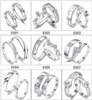 ingrosso mescolare set di argento in modo jewerly-Mix 28 Styles 925 Sterling Silver Jewerly Anelli DIAMOND ENGAGEMENT RING WEDDING BAND Coppia Anello SET Spedizione Gratuita