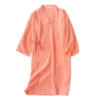 ingrosso camicia da notte arancione-Sexy arancione fresco kimono accappatoi donne accappatoi 100% cotone garza camicie da notte casual casual estate donne abiti giapponesi