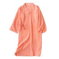 roupões laranja venda por atacado-Sexy laranja fresco quimono roupões de banho das mulheres 100% algodão gaze bonito casual mulheres verão camisolas roupões japoneses