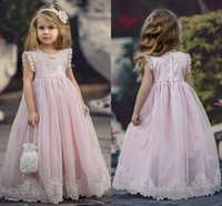 Wholesale occasion dresses for kids for sale - Lovely Blush Pink Flower Girl Dresses Special Occasion For Weddings Kids Pageant Gowns A Line Lace Appliques First Communion Dress