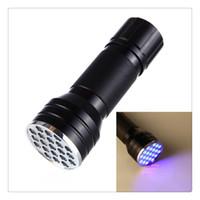 21 führte uv taschenlampe fackel großhandel-Ultra Violet Blacklight Taschenlampe Mini Taschenlampe tragbare Lampe Fälschungen Falschgeld-Detektor Großhandel 21 LED UV