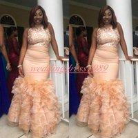 Wholesale yellow lace gown girls for sale - Bling Black Girl Ruffle Mermaid Prom Dresses Organza Tiered Lace African Evening Robe De Soire Plus Size Party African Formal Gowns