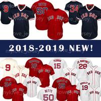 ted baseball großhandel-Herren Sox Trikot 50 Mookie Betts 19 Jackie Bradley Jr. Baseball Trikot 28 JD Martinez 9 Ted Williams Retro Mesh Trikot Großhandel