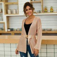 frauen gürtel strickjacke großhandel-Damen Langarm V-Ausschnitt Gürtel Slim Sweater Loose Casual Cardigan Sweater KNG88