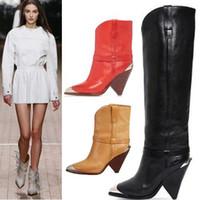 kurze lederne cowboystiefel groihandel-Serpentine Leather Damen Short Booties Nieten Designer Schenkel-hohe Stiefel-Cowboystiefel-Absatz-Pumpen-Schuhe Bottes Femmes