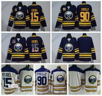 leeres hockey jersey usa großhandel-Sabres Jersey Buffalo Eishockey 90 Ryan OReilly Trikots O Reilly Uniformen 15 Jack Eichel USA Flagge Blank Blau Weiß Farbe Top Qualität