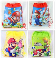 Wholesale mario kids bag resale online - Super Mario Backpack Party Gift Bag Cartoon Backpack Drawstring Bags Kids Travel Storage Shoes Bags Birthday Party Favor RRA1655