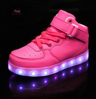 ingrosso ragazzi illuminano scarpe ragazza-Basket Led Kid Scarpe casual con Light Up Boys Sneakers Ragazze incandescente Scarpe per bambini Scarpe USB di ricarica