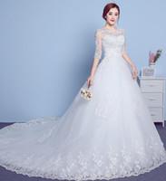 coreano vestido de noiva simples venda por atacado-Vestido de casamento personalizável na manga em volta do pescoço arrastando 2019 novo coreano simples tamanho grande rendas mulheres grávidas vestido de noiva