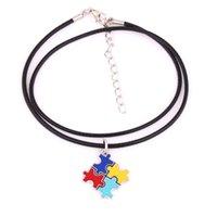 ingrosso collane di cuoio-HS19 Autism Hope gioielli multicolore smaltato puzzle Piece pendente con catena di collegamento di grano / catena di fili di cuoio / catena serpente / collana di perline