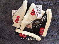 Wholesale dots shoes resale online - 2019 CDG Play s Classic Canvas Jointly Big Eyes High Top Dot Heart Mens Women Skate Casual Shoes Fashion Designer Sneakers