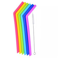 paillettes achat en gros de-Le silicone réutilisable paille de longues pailles flexibles avec le nettoyage brosse les pailles coudées droites pour la barre dînant des bocaux bocaux des tasses
